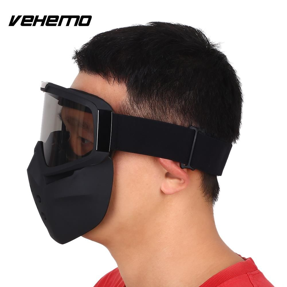 Vehemo Motorcycle ATV Scooter Riding Face Guard Mask Shield Detachable Goggles