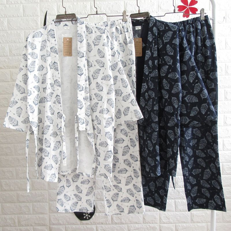 Frühling Sommer Männer Japanischen Kimono Pyjamas Suit blatt Männlichen Nachtwäsche Baumwolle Doppel-gaze-gewebe Lose Nachthemd Top & Buttoms Set