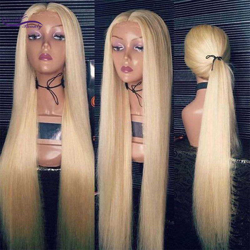 Droit 613 Blonde pleine dentelle perruques de cheveux humains brésilien Remy cheveux pré plumé délié 180 densité pleine dentelle perruque rêve beauté