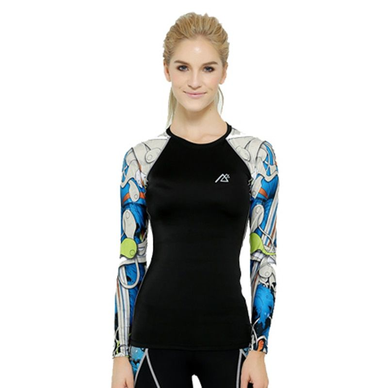 Life on Track Women Compression Tights T Shirt Running GYM Fitness tees Long Sleeve Moisture Wicking Quick-drying T-shirt