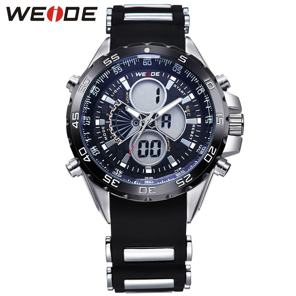 WEIDE Watch Men Stopwatch Quartz Digital Analog Army Men's Military Sports Watch Silicone Strap Luxury LCD Back Light Wristwatch