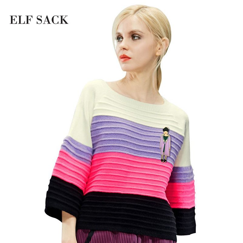 ELF SACK Women Winter Sweater Stripe Multicolour Pullovers Loose Flare Sleeve Sweet Girl's Tops Elegant Womens All-mach Sweaters