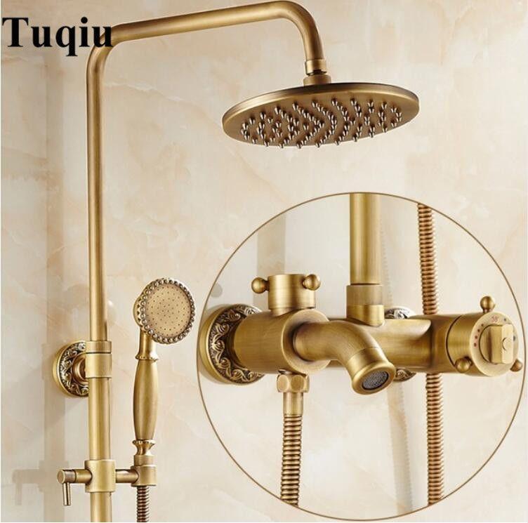 Luxus Antiken Messing Thermostat Regendusche Set Wasserhahn Einhebelmischer Handbrause Thermostatischen Bad und duscharmaturen