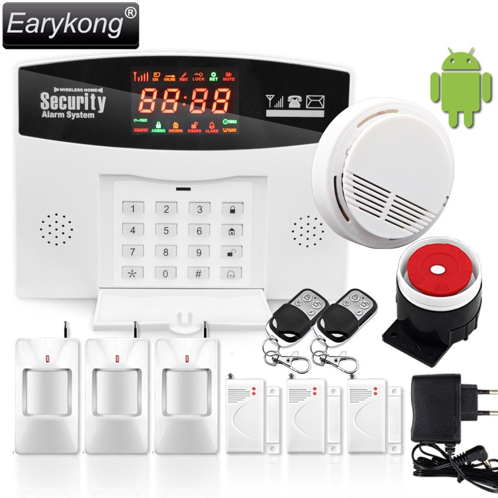 GSM Alarm System Wired/Wireless 433MHz, Russian / English / Spanish Voice Prompt, Built-in Relay Support Extra Device Control
