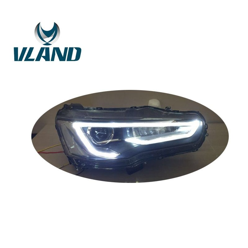 VLAND Car Head Lamp For Lancer EX 2008 2009 2010 2012 2015 2016 LED Head Light With Bi-Xenon Lens Lancer Evolution EX Headlight