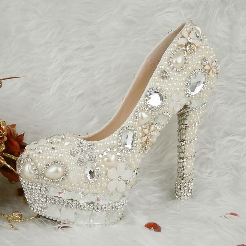 Handmade Sparkling Women High Heels Genuine Leather Rhinestone Bridal Dress Shoes White Pearl Wedding Shoes Size 34-43