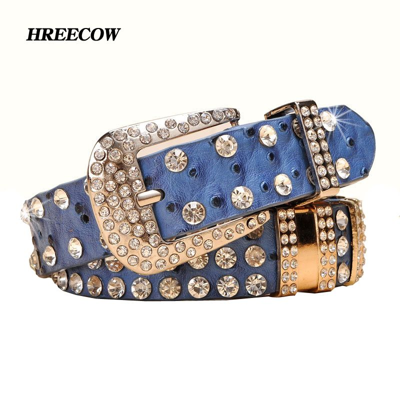 New Fashion Rhinestone belts for women Luxury Designer Genuine leather belt High quality Cow <font><b>second</b></font> layer skin strap female