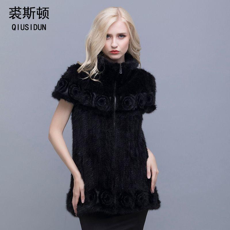 Трикотажные пальто норки натурального меха вязаный жакет стильный отворот рукава летучая мышь женщина с цветами в теплая зимняя одежда L-4XL