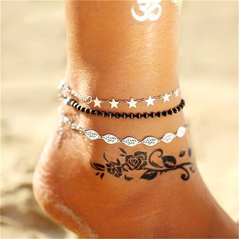 17KM Multiple Vintage Anklets For Women Bohemian Ankle Bracelet 2019 Cheville Barefoot Sandals Pulseras Tobilleras Foot Jewelry