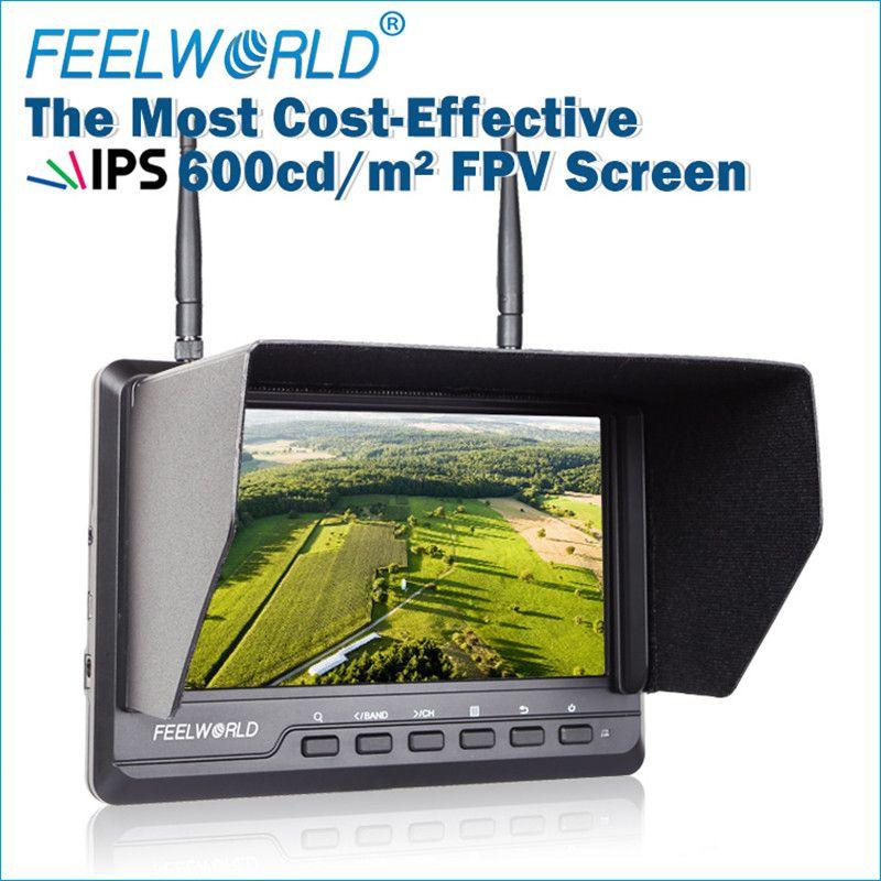 Feelworld 7 Zoll 1024x600 IPS ultradünne FPV Monitor für Drone mit Eingebaute Batterie Dual 5,8G 40CH Diversity Empfänger FPV720