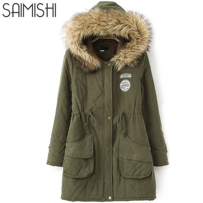 Saimishi Winter Warm Coat Women Long Parkas Fashion Faux Fur Hooded Womens Overcoat Casual Cotton Padded Jacket Mutil Colors