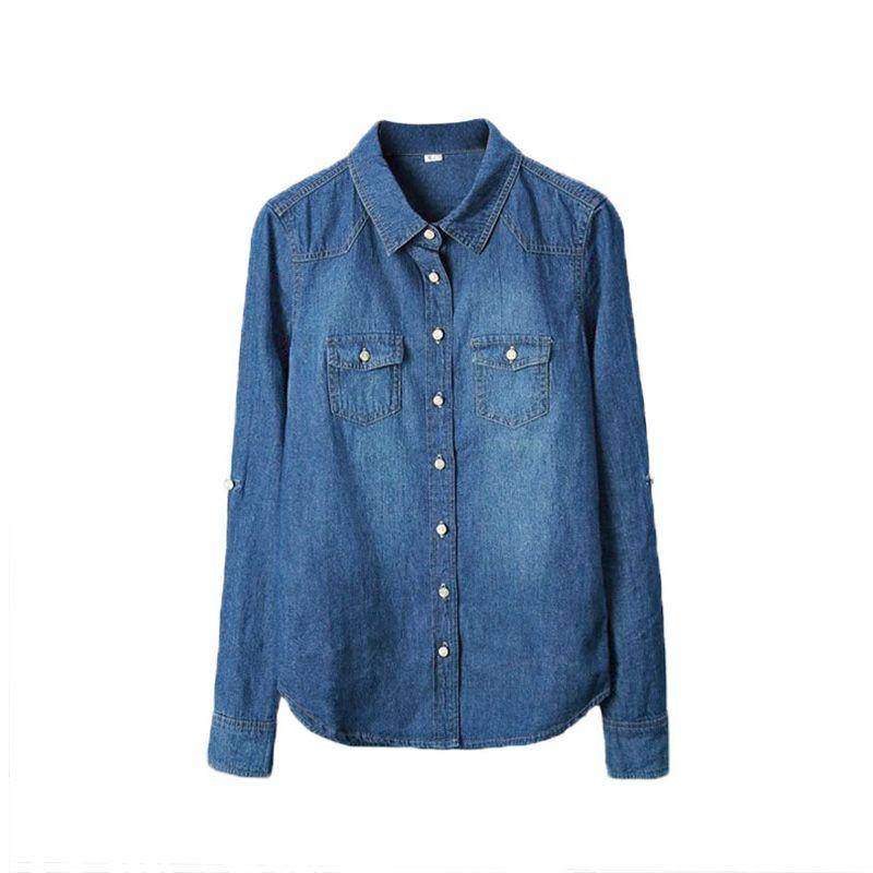 Grande taille vetement mode Style femmes vêtements Blouse manches longues décontracté chemise en jean nostalgique Vintage bleu Jeans chemise Camisa
