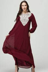 1 pcs/lote livraison gratuite traditionnelle musulmane femmes vêtements mode abaya islamique pour les femmes robe longue en dentelle lâche robe à manches longues