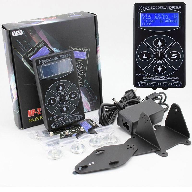 Newest Professional Black HP-2 Hurricane Tattoo Power Supply Digital Dual LCD Display Tattoo Power Supply Machines Free Shipping