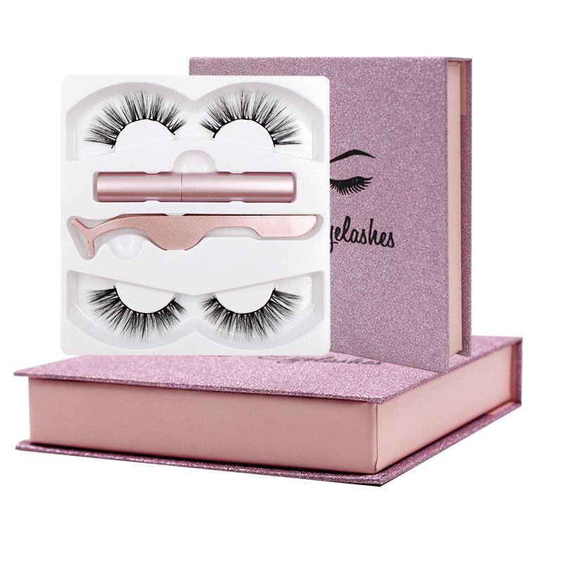 Shozy Eyeliner liquide magnétique & faux cils magnétiques & pince à épiler ensemble Eyeliner longue durée imperméable 2 paires de cils