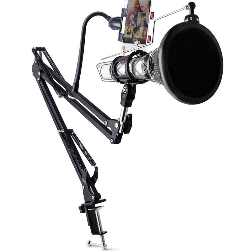 3 in 1 Extendable Recording Microphone Holder with Mic Clip Table Mounting Clamp Phone Clip Microphone Pop Filter for Live Show