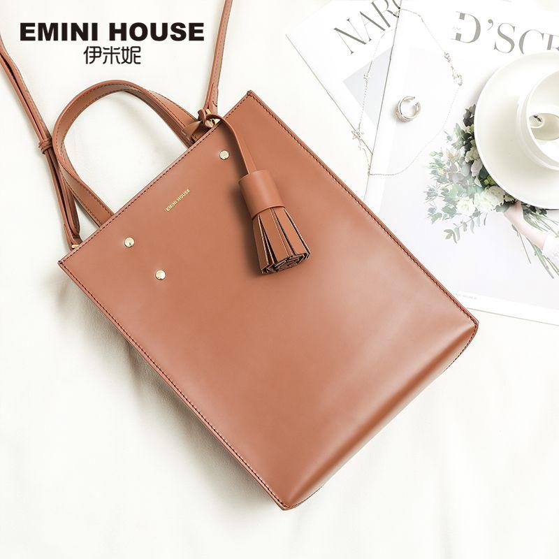 EMINI HOUSE Ladie's Genuine Leather Handbag Luxury Handbags Women Bags Designer Tassel Tote Roomy Shoulder Bag Female Clutch Bag
