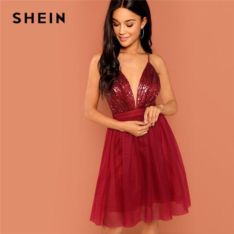 SHEIN Burgundy Sexy Party Backless Sequin Detail Mesh Halter High Waist Solid Dress 2018 Summer Club Fashion Women Dresses