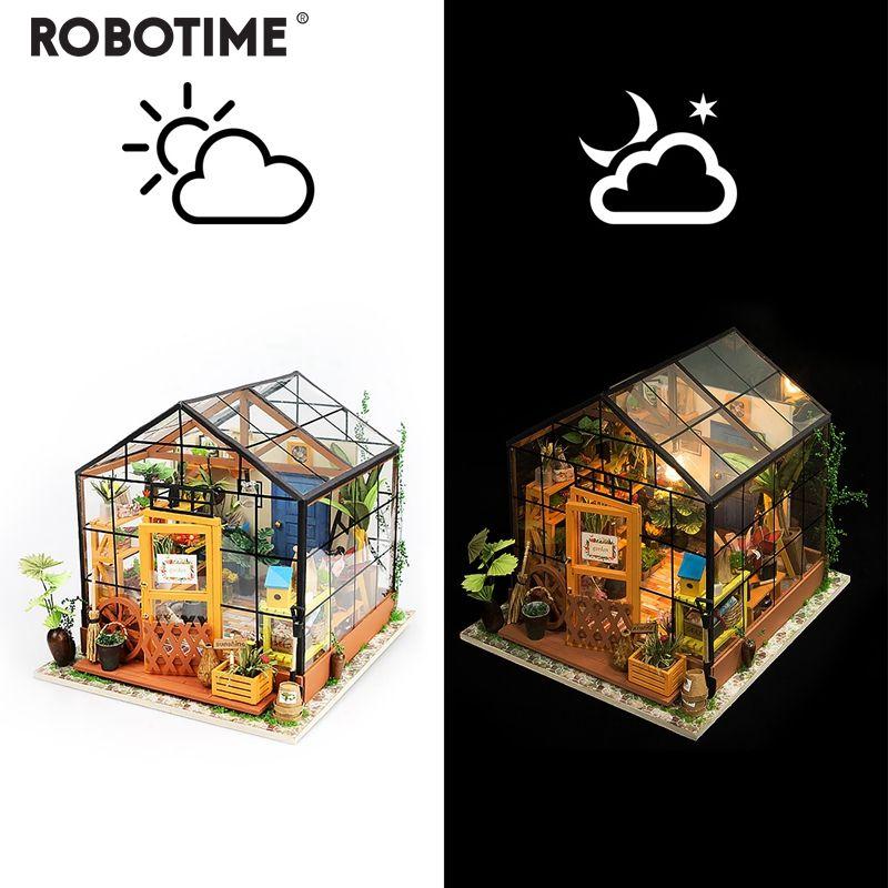 Robotime maison de poupée Miniature bricolage jardin vert de Kathy avec meubles enfants Kits de construction modèle adulte maison de poupée DG104