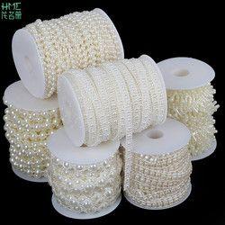 2-10 m/sac Multi-taille ABS Imitation Perle Perles Chaîne Garniture pour le BRICOLAGE De Mariage Partie Décoration Bijoux Conclusions artisanat Accessoires