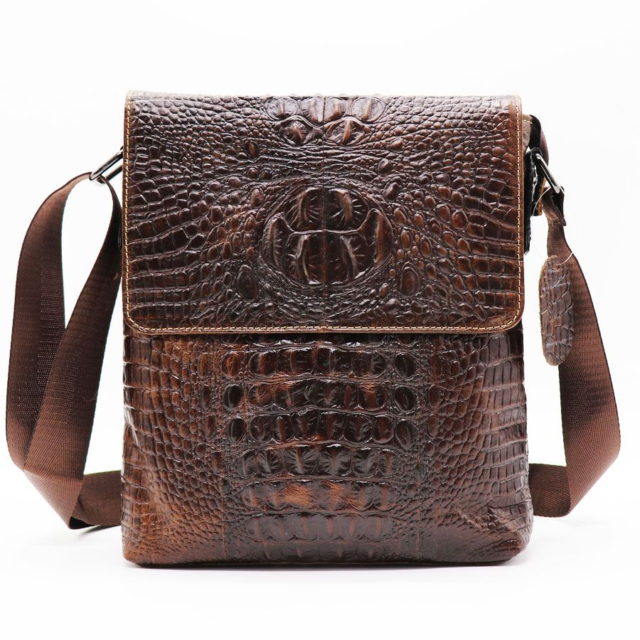 Brand Alligator Genuine Cow Leather Vintage Men's Messenger Bag Cross Body Shoulder Bags Casual&Business Zipper Pack For Ipad