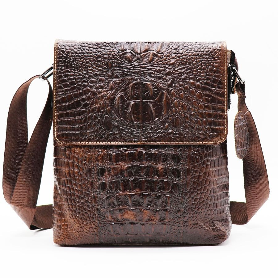 Brand Alligator Genuine Cow Leather Vintage Men's Messenger Bag <font><b>Cross</b></font> Body Shoulder Bags Casual&Business Zipper Pack For Ipad