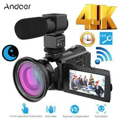 Andoer 4K 1080P 48MP WiFi Digital Video Camera Camcorder Recorder with 0.39X Wide Angle Macro Lens External Microphone 3inch