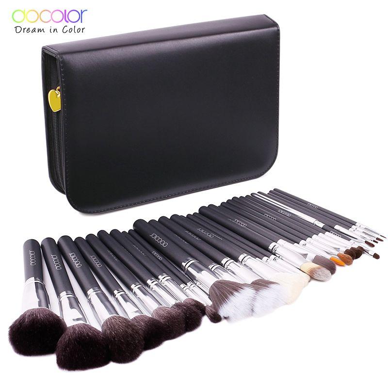 Docolor 29 PCS Brosses de Maquillage Professionnel Cosmétiques Brosse set de Haute Qualité Maquillage Ensemble Avec Cas nature poils pinceaux de maquillage