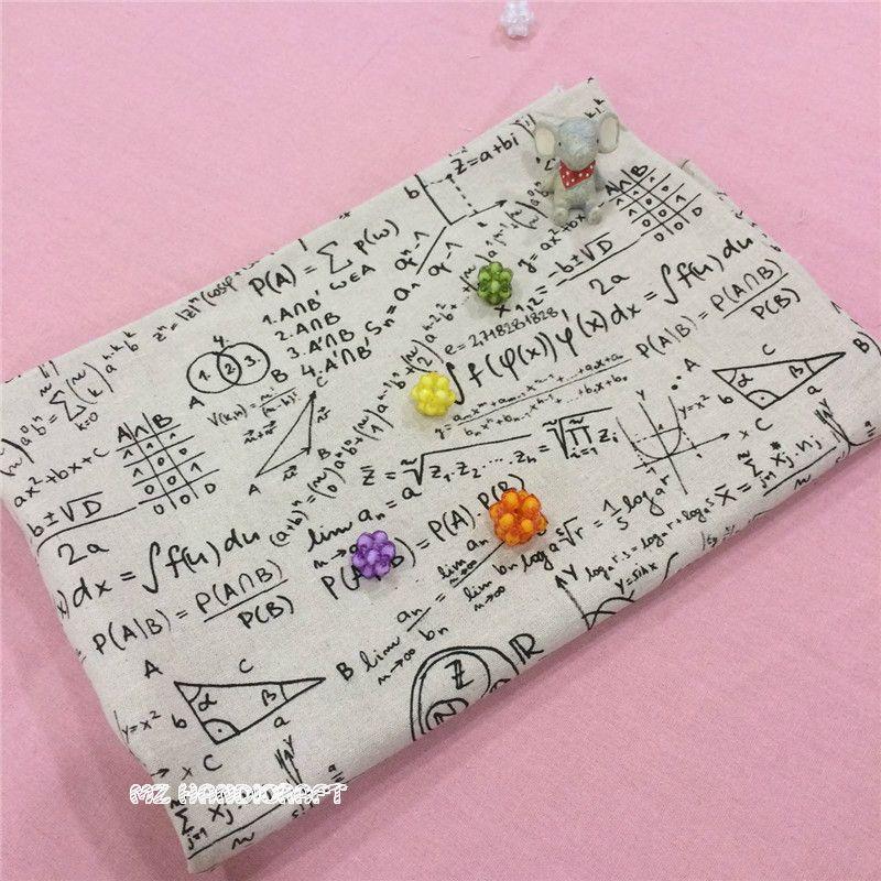 Rétro Coton Lin Tissu Imprimé Mathématique Symbo pour BRICOLAGE Sac D'oreiller Coussin Nappe Décor Coton Tissu 50*150 cm