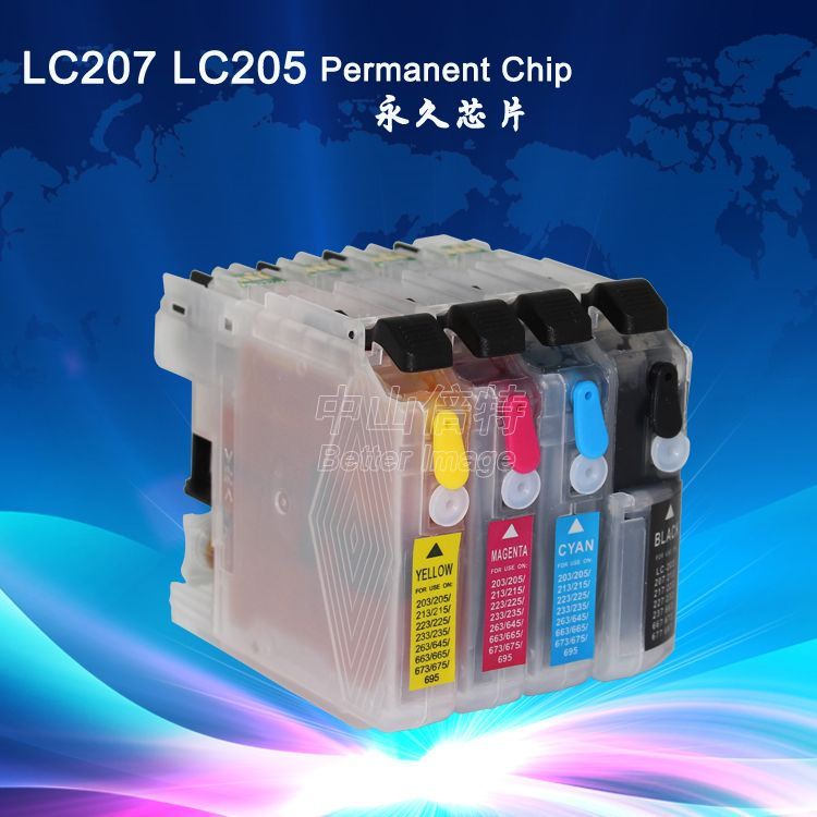 Refillable Ink Cartridge with Auto Reset Chip for  LC207BK LC205 C M Y,full ink, ready to use