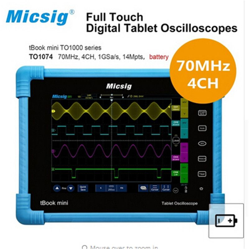 Micsig Digital Tablet oscilloscope portable touchscreen scopemeter 70MHz 4CH 14Mpts automotive diagnostic car-detector portable