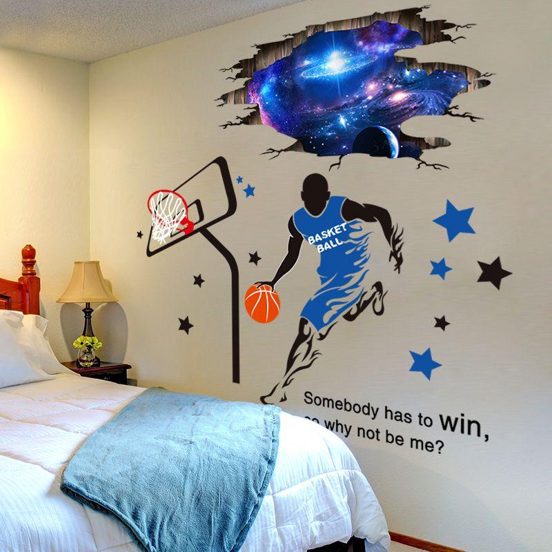 [SHIJUEHEZI] autocollants muraux 3D pour l'espace extérieur bricolage autocollants muraux pour joueur de basket-ball pour chambre d'enfants décoration de plafond de chambre de bébé