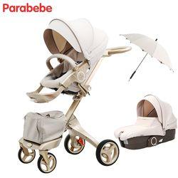 Parabebe Bébé De Luxe Poussette 15 KG Grand Bébé Landau Poussette d'or Poussettes Pour Enfants Bébé Chariot Bébé Voiture carrinho de bebe