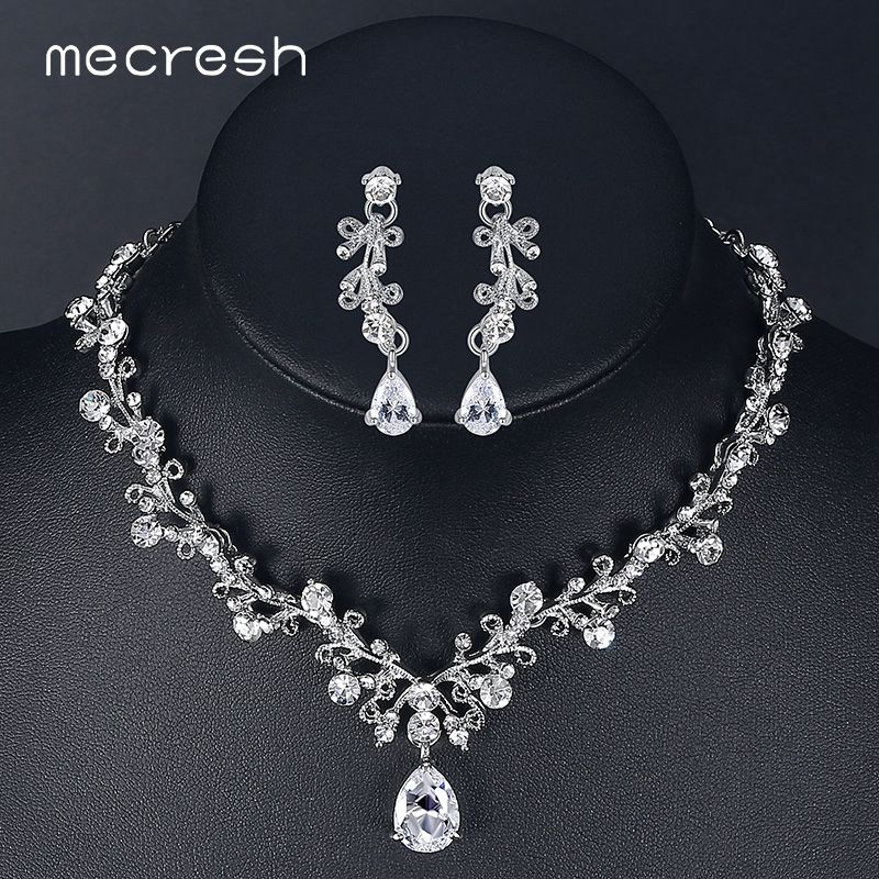 Mecresh Luxury Cubic Zirconia Bridal Jewelry Sets Leaf-Shape Crystal Rhinestone Party Wedding Jewelry Necklace Sets MTL486