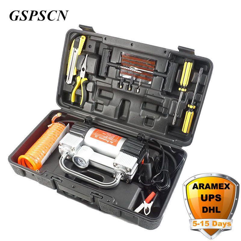 Pompe gonflable de Double cylindre de GSPSCN avec le compresseur d'air de voiture de valise 12 V avec la pompe portative de gonfleur de Double cylindre de boîte à outils