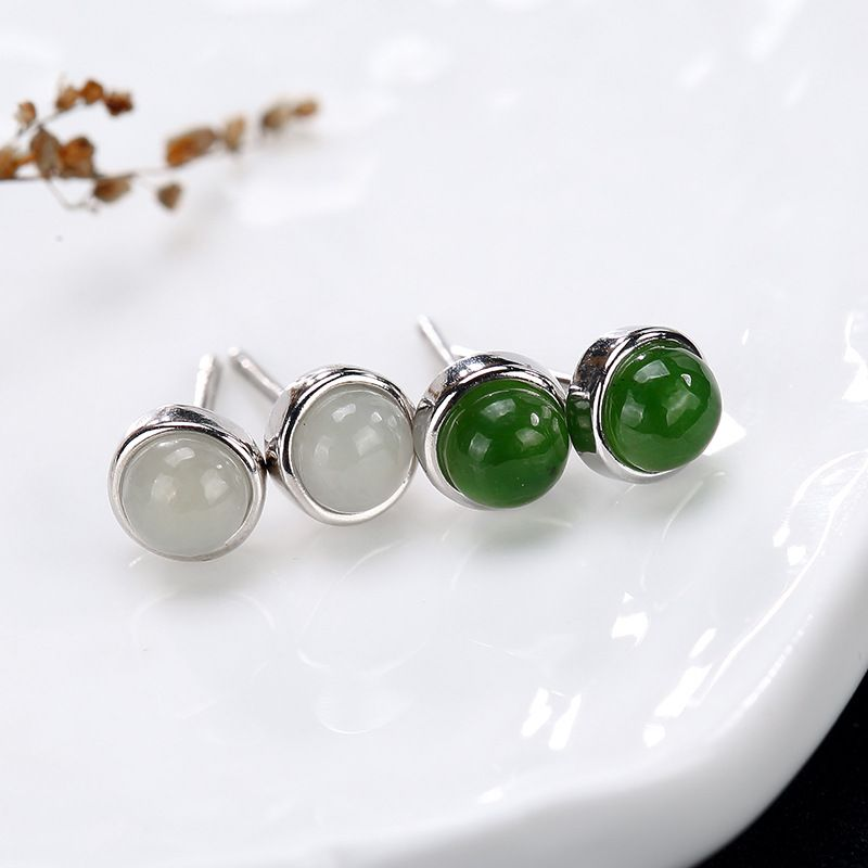 Simple Earrings Stud Small Round Shaped 925 Sterling Silver Earrings Inlaid Natural Stone Jade Jasper Fine Jewelry Allergy Free