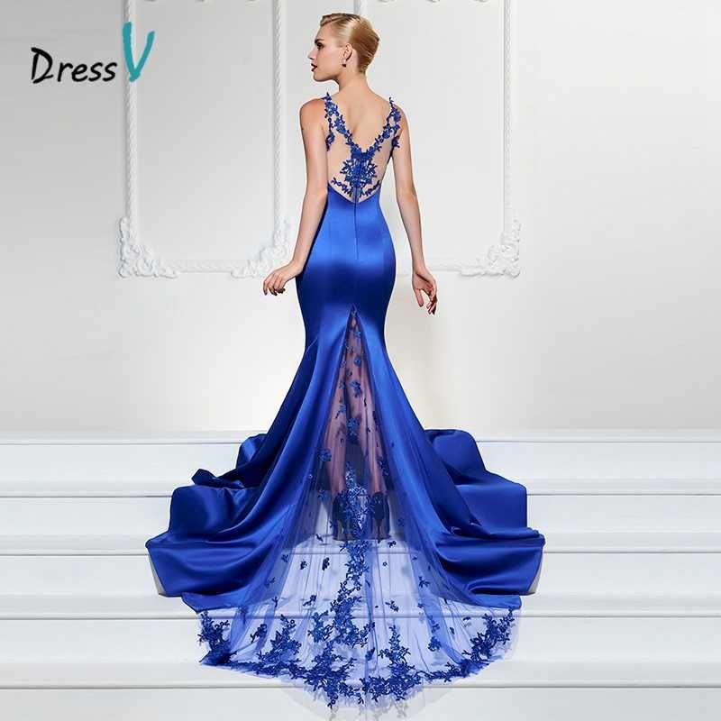 Dressv azul real largo vestido de noche sexy V cuello sirena barrido tren de lujo formal vestido de fiesta trompeta encaje vestidos de noche
