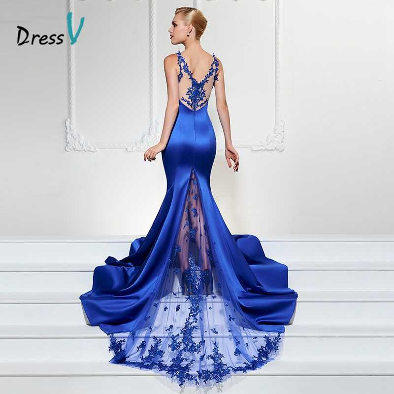 Dressv azul real vestido de noche largo sexy cuello en v vestido de fiesta trompeta sirena barrer de tren vestido formal de lujo de encaje vestidos de noche
