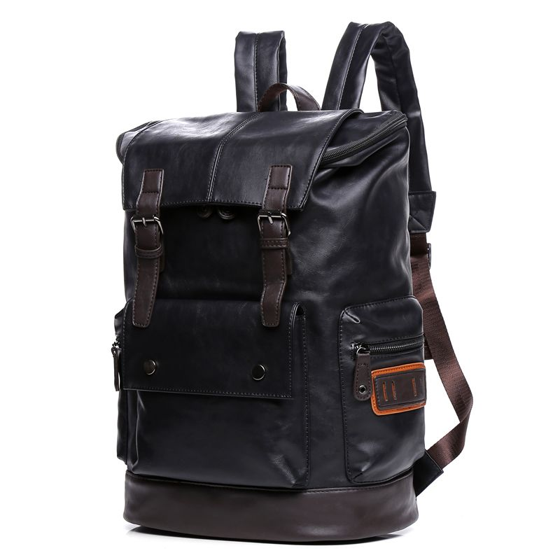 Waterproof Large Capacity Leather Backpack Youth 14 15 inch Laptop Backpack Men Fashion Leisure Travel School Bags Male bagpack