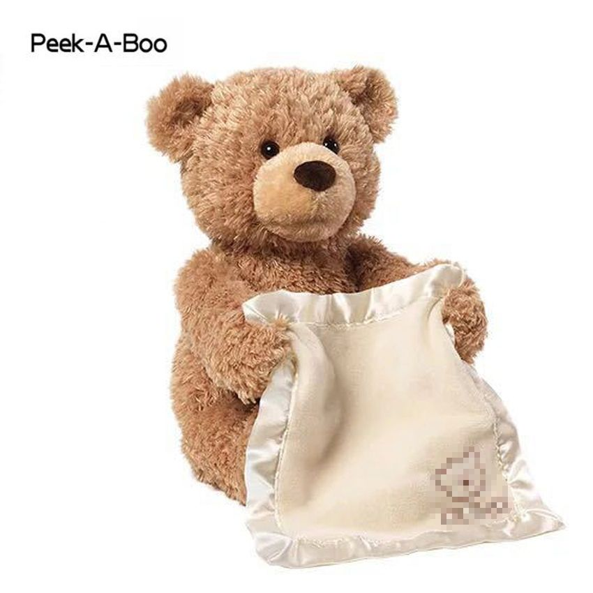 Peek A Boo Teddy Bear Stuffed Animals & Plush Doll Music dog Educational Anti-stress Electric Toy For Baby