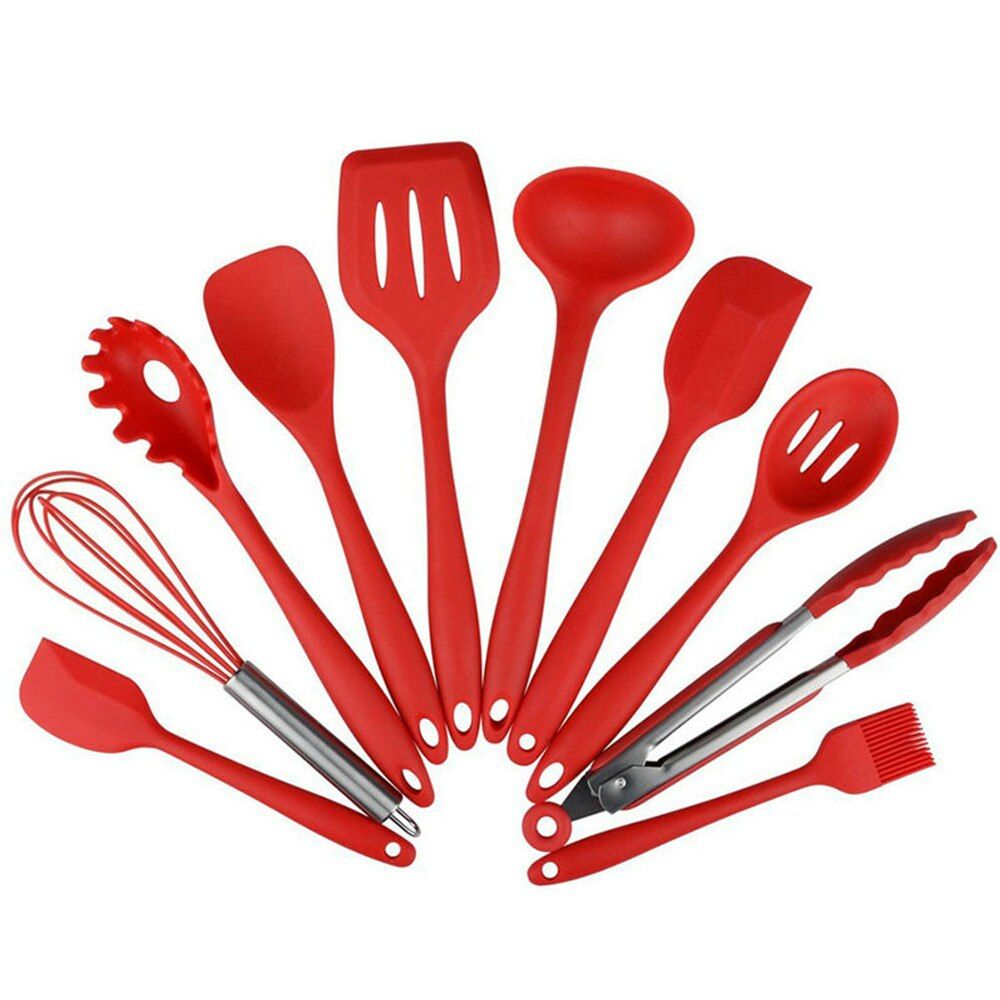 10Pcs Silicone Cooking Tool Sets Non-stick Eggs Beater Spatula Spoon Shovel Ladle Spaghetti Server Oil Brush Kitchen Utensils