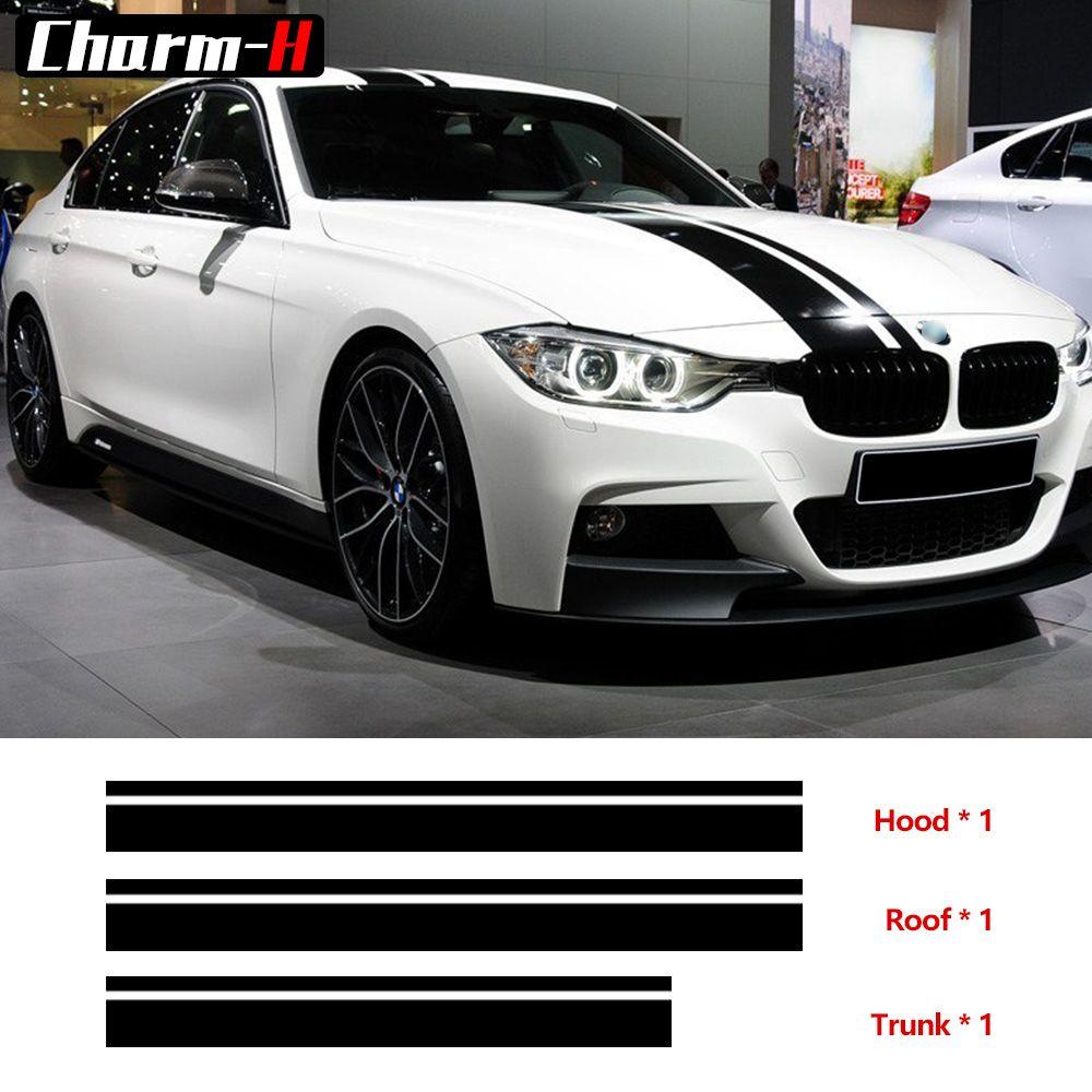 Set M Leistung Streifen Haube Dach Stamm Vinyl Aufkleber Aufkleber für BMW f30 f10 f20 f31 f01 f11 f25 g30 g31 g11 g12 e60 e90 e46