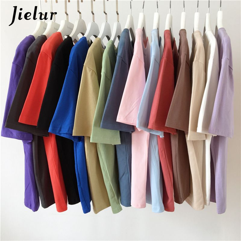 Jielur Tee Shirt 15 Solid Color Basic T Shirt Women Casual O-neck Harajuku Summer Top Korean Hipster White Tshirt S-XL Dropship