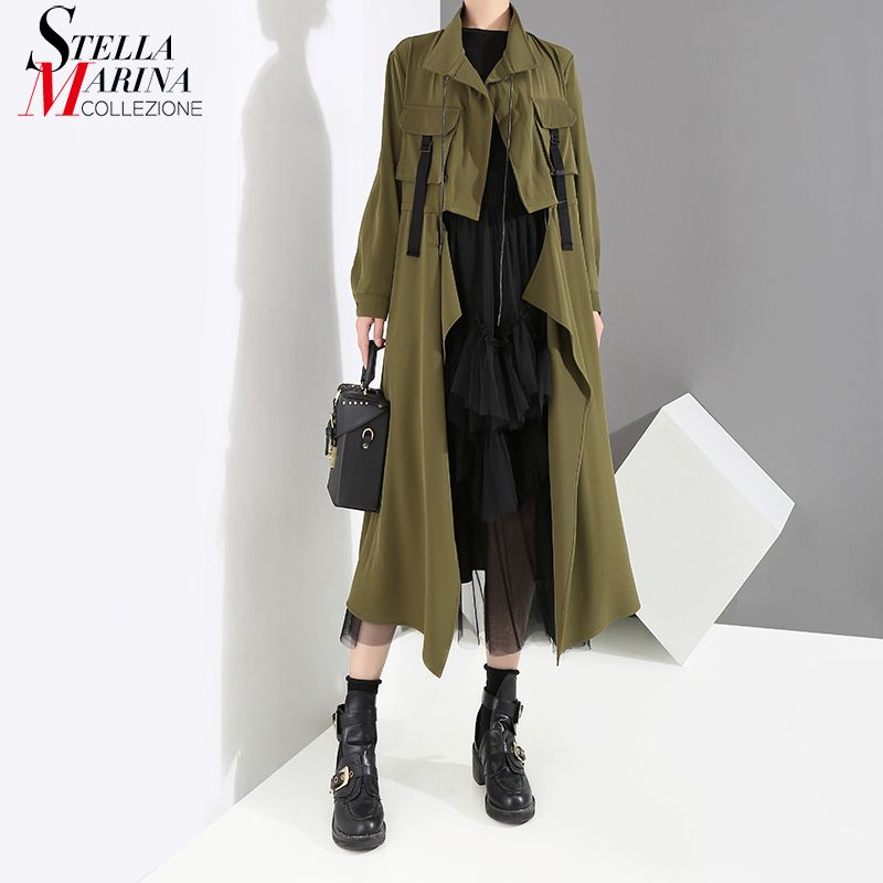 New 2018 Women Winter Solid Army Green Long Trench Coat Turtleneck Open Stitch Female Stylish Long Coats Outerwear Style 3953