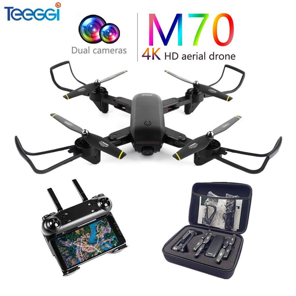 Teeggi M70 RC Quadcopter Drone 4K with Camera HD 1080P FPV Selfie Drone Quadcopter Helicopter VS E58 VISUO XS809HW XS809S SG700