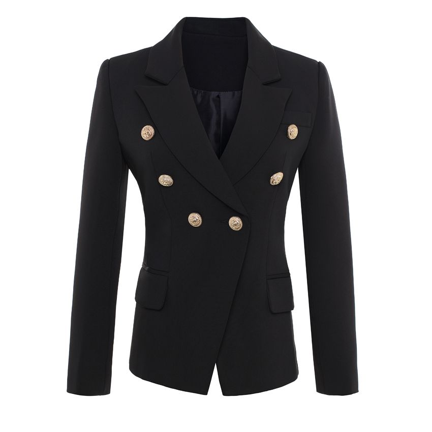 HIGH QUALITY New Fashion 2018 Runway Style Women's Gold Buttons Double Breasted Blazer Outerwear Plus size S-XXXL