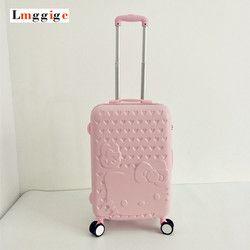 Hello Kitty bolso del equipaje, Maleta, ABS moda dibujos animados caja de viaje, Rolling Carry, trolley caso Hardcase, regalo para los niños