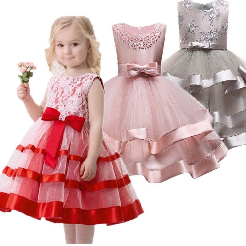 2019 Elegant Pearl Cake dress Princess Girls Wedding Party Dress For Wedding Flower Girl Dress Children Clothes Ceremonies Dress