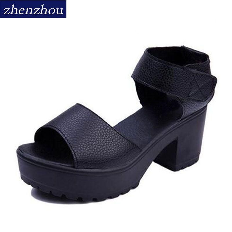 Livraison gratuite vente CHAUDE 2017 femmes d'été de chaussures à talons hauts talon épais bout ouvert plate-forme sandales plate-forme sandales blanc