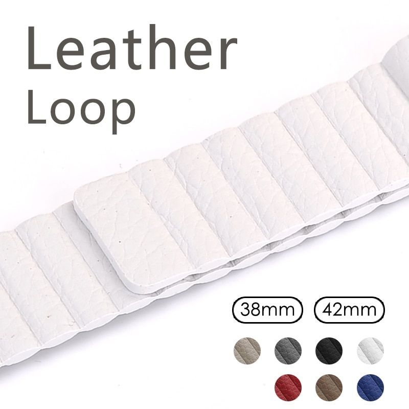 Leather loop for apple watch series 2 3 band for iwatch comfortable feel soft leather strap with magnet buckle